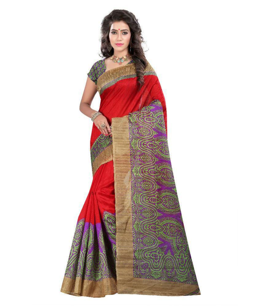 Ativha Saree Multicoloured Bhagalpuri Silk Saree