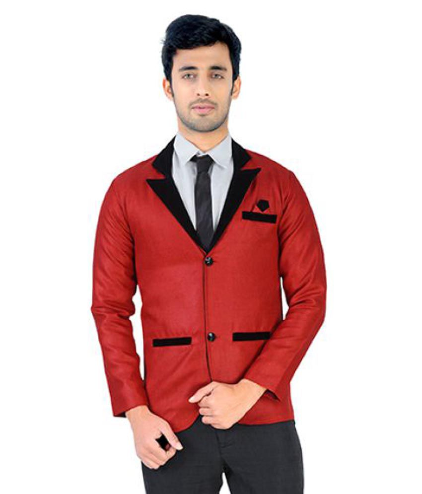 Nu Abc Garments Red Solid Party Tuxedo