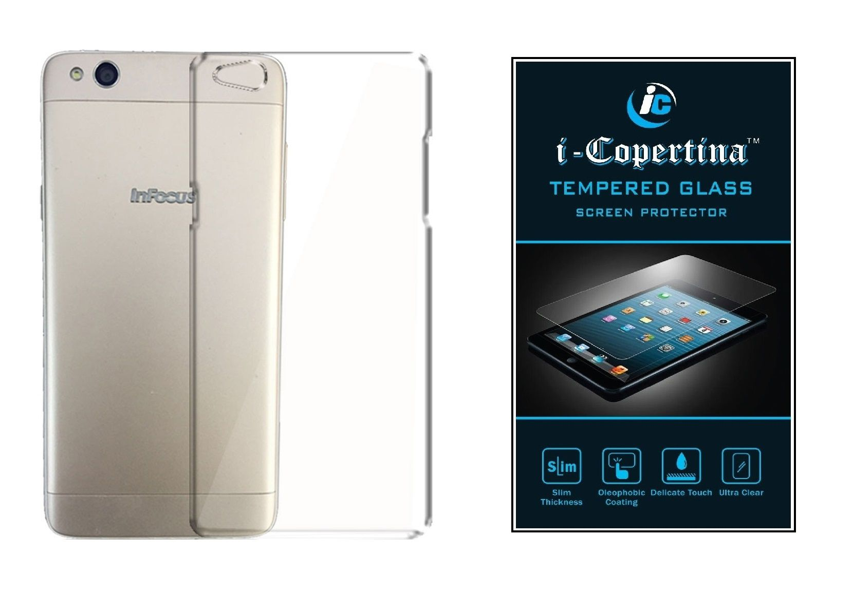 infocus m535 transparent back cover and tempered glass combo set by icopertina
