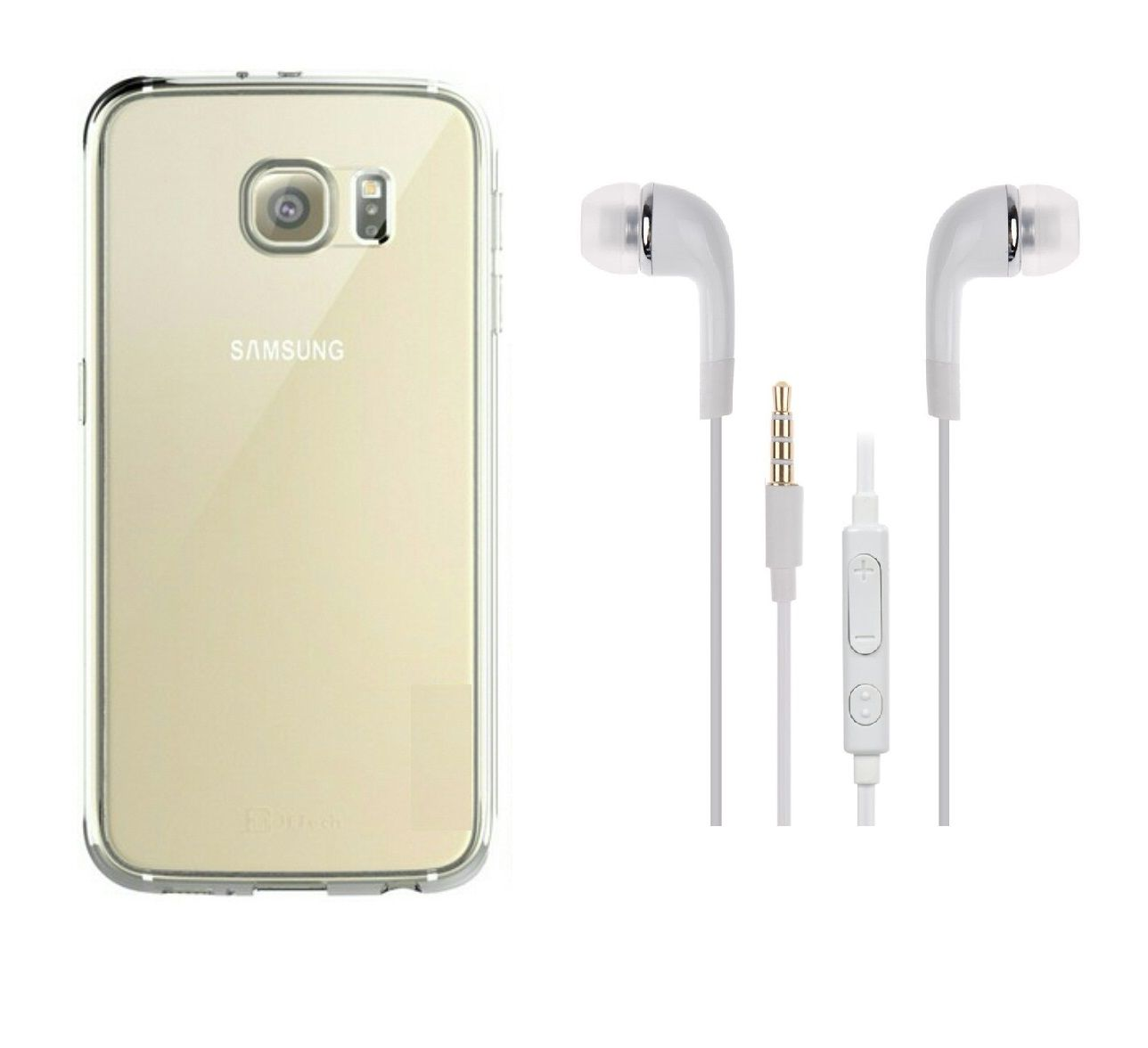 size 40 9a85f 82bc1 Samsung Galaxy S6 Back Cover transparent and 3.5MM Jack Premium Earphones  White by iCopertina
