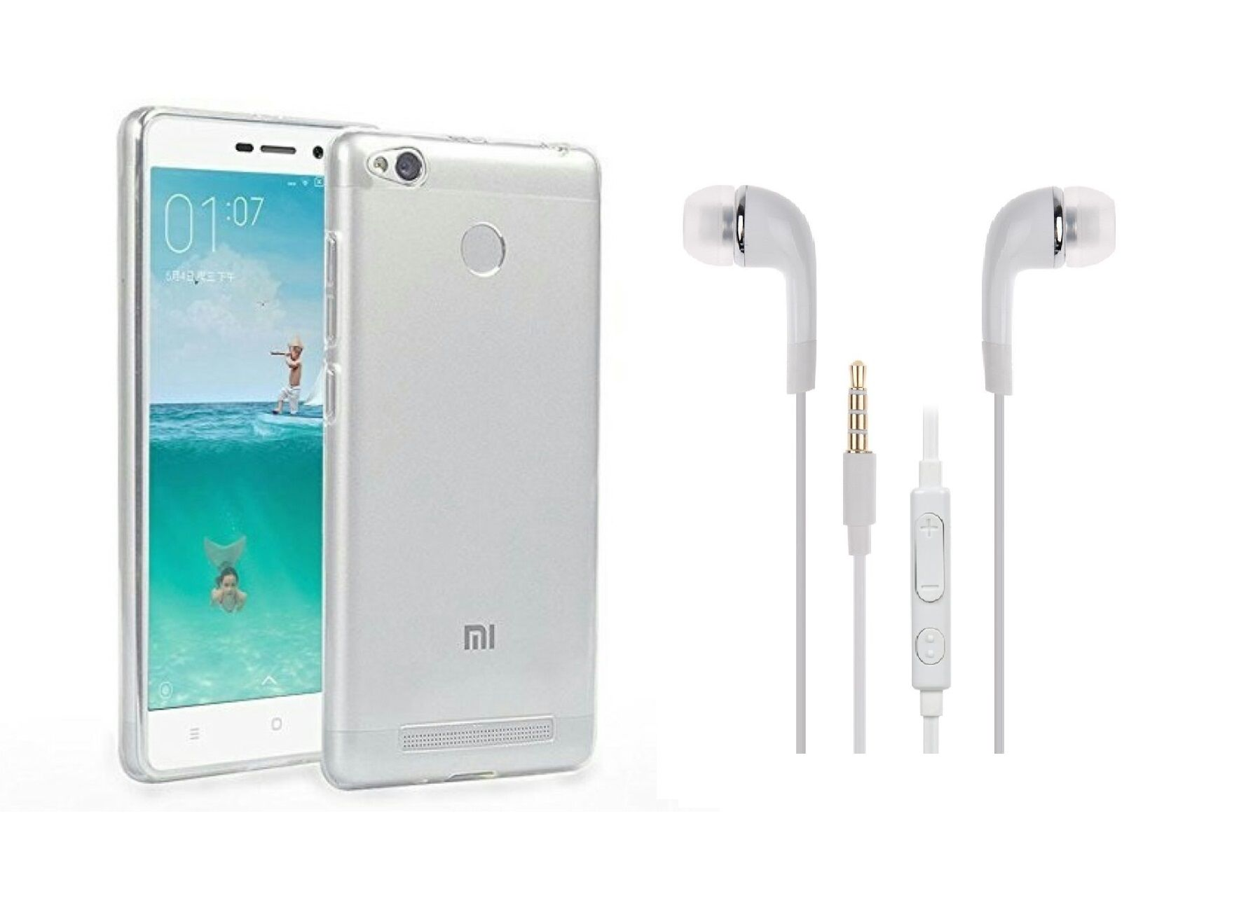 Xiaomi Redmi 3s Prime Back Cover transparent and 3 5MM Jack Premium Earphones White by iCopertina