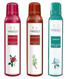 Yardley Red Roses, Sandalwood & Jasmine Deo Pack of 3