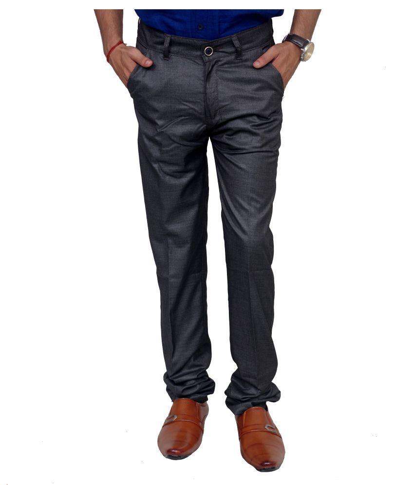 Blue Teazzers Grey Regular Flat Trouser