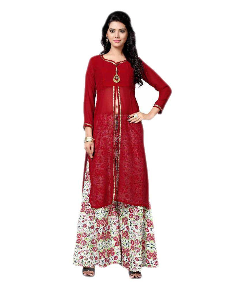 Fashion Storey Multicoloured Georgette Straight Stitched Suit