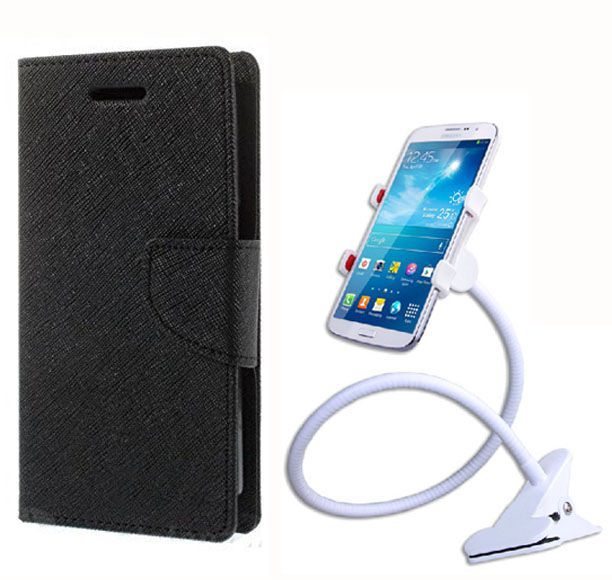 Fancy Flip Case Back Cover For Samsung Galaxy On5 (BlackBrown) + 360 Rotating Mobile lazy stand by  Aart store.