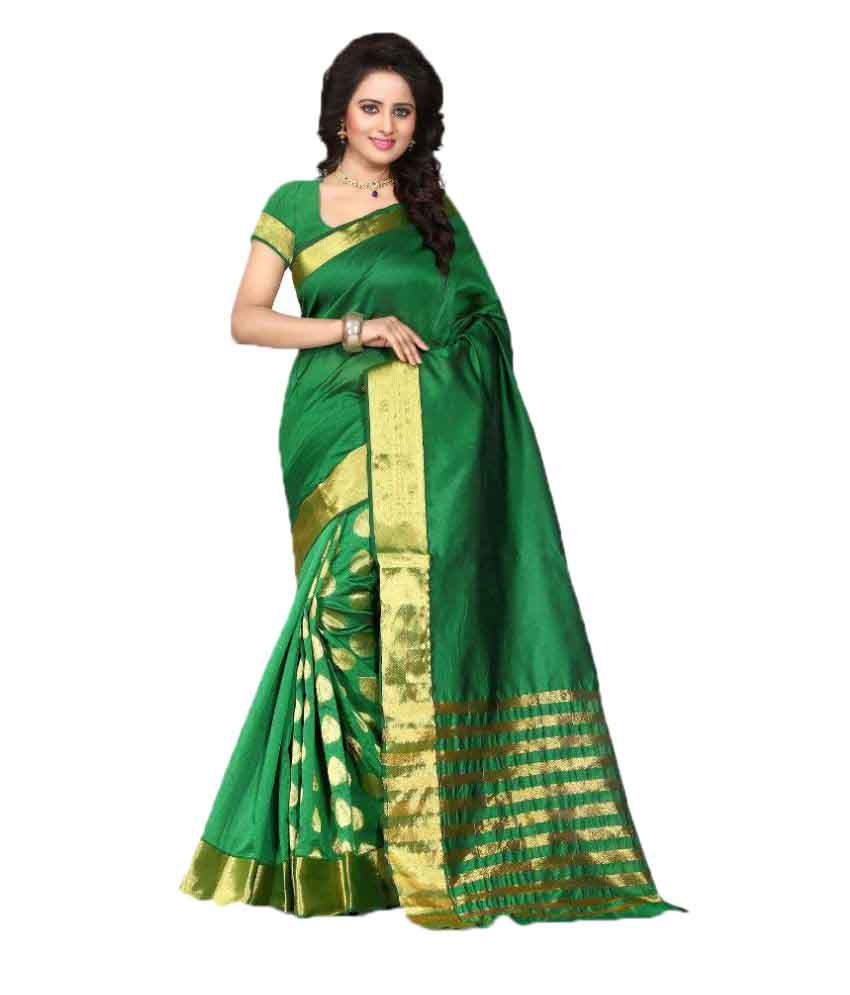 Zaveri Export Green Polycotton Saree