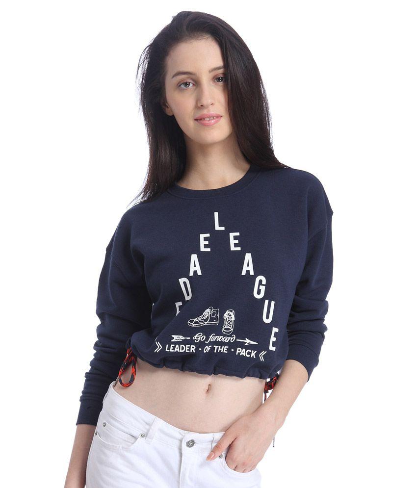 Vero Moda Blue Poly Cotton Crop Tops
