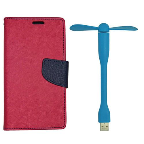 Wallet Flip Case Back Cover For Sony Xperia Z3 - (Red)+Flexible Stylish Mini USB Fan in Blue color By Style Crome