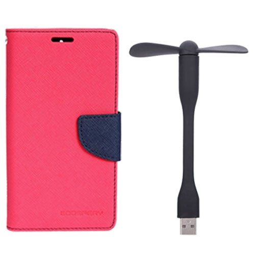 Wallet Flip Case Back Cover For Samsung E7 - (Pink)+Flexible Stylish Mini USB Fan in Black color By Style Crome