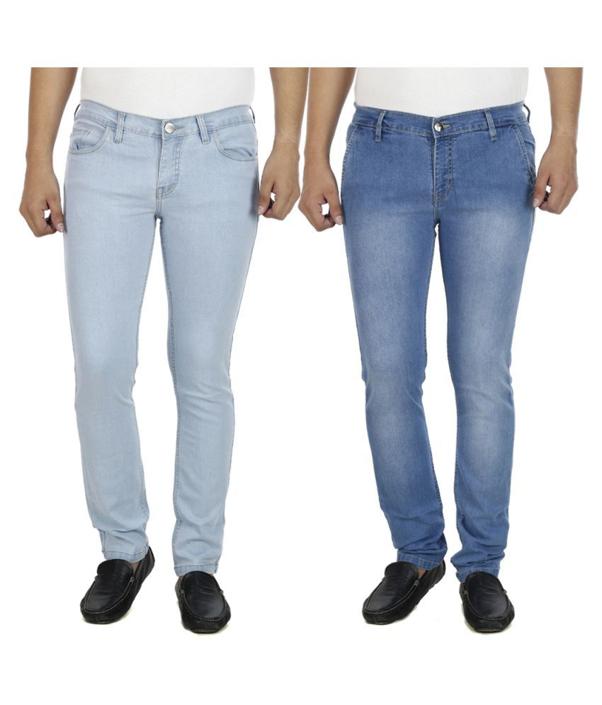 AtLast Blue Slim Solid Jeans - Pack of 2