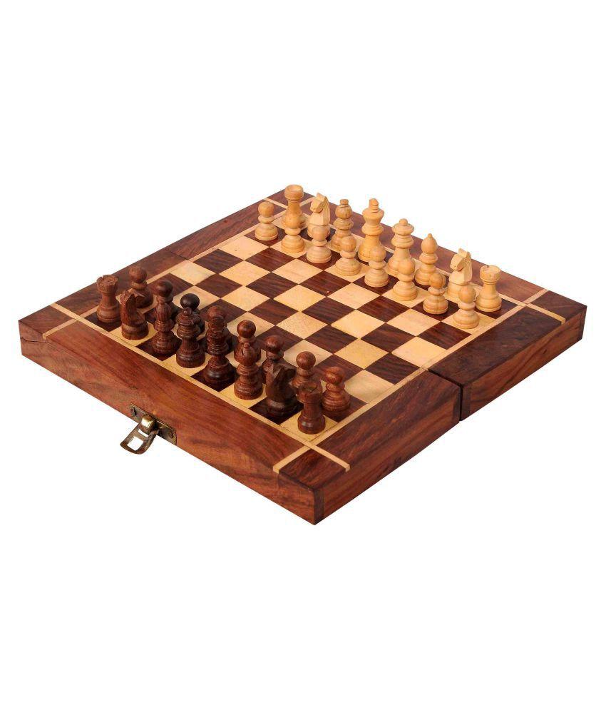 GSI Brown Folding Wooden Chess Board