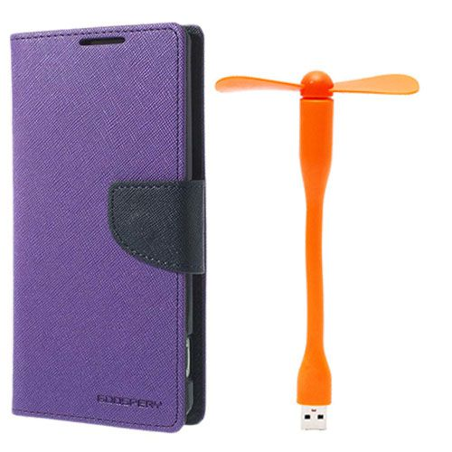 Wallet Flip Case Back Cover For Micromax A110 - (Purple)+Flexible Stylish Mini USB Fan in Orange color By Style Crome