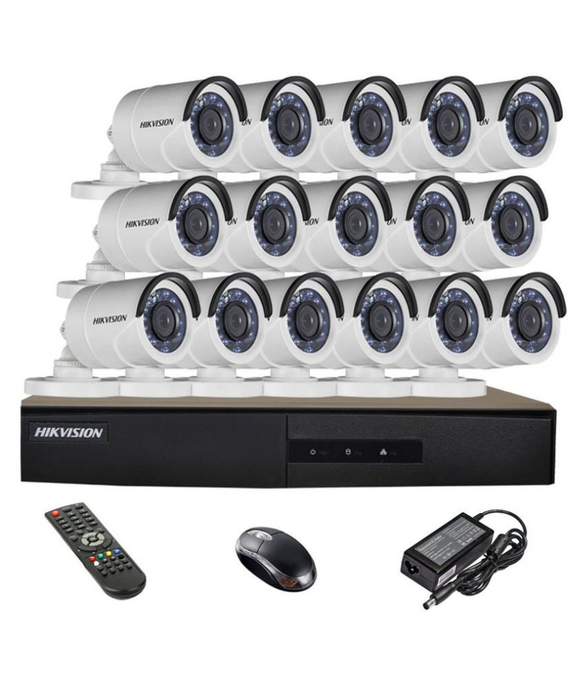Hikvision DS-7216HGHI-E1 16CH Dvr, 16(DS-2CE16COT-IRP) Bullet Cameras (With Mouse, Remote)