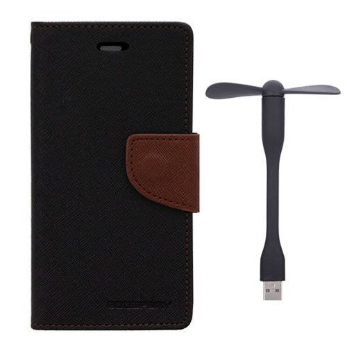 Wallet Flip Case Back Cover For Sony Xperia Z1 - (Blackbrown)+Flexible Stylish Mini USB Fan in Black color By Style Crome