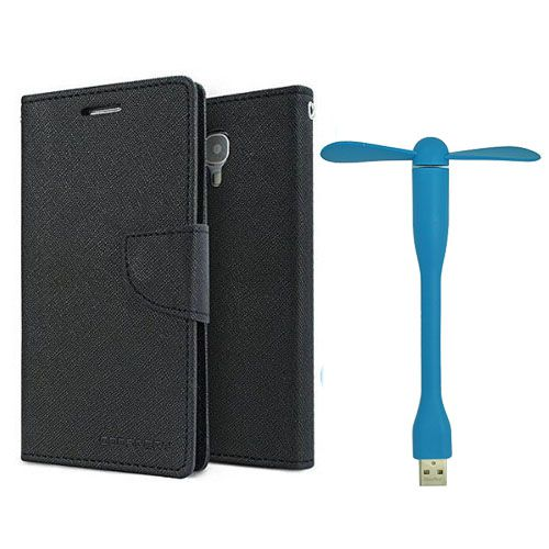 Wallet Flip Case Back Cover For Samsung Note 3 new -(Black)+Flexible Stylish Mini USB Fan in Blue color By Style Crome