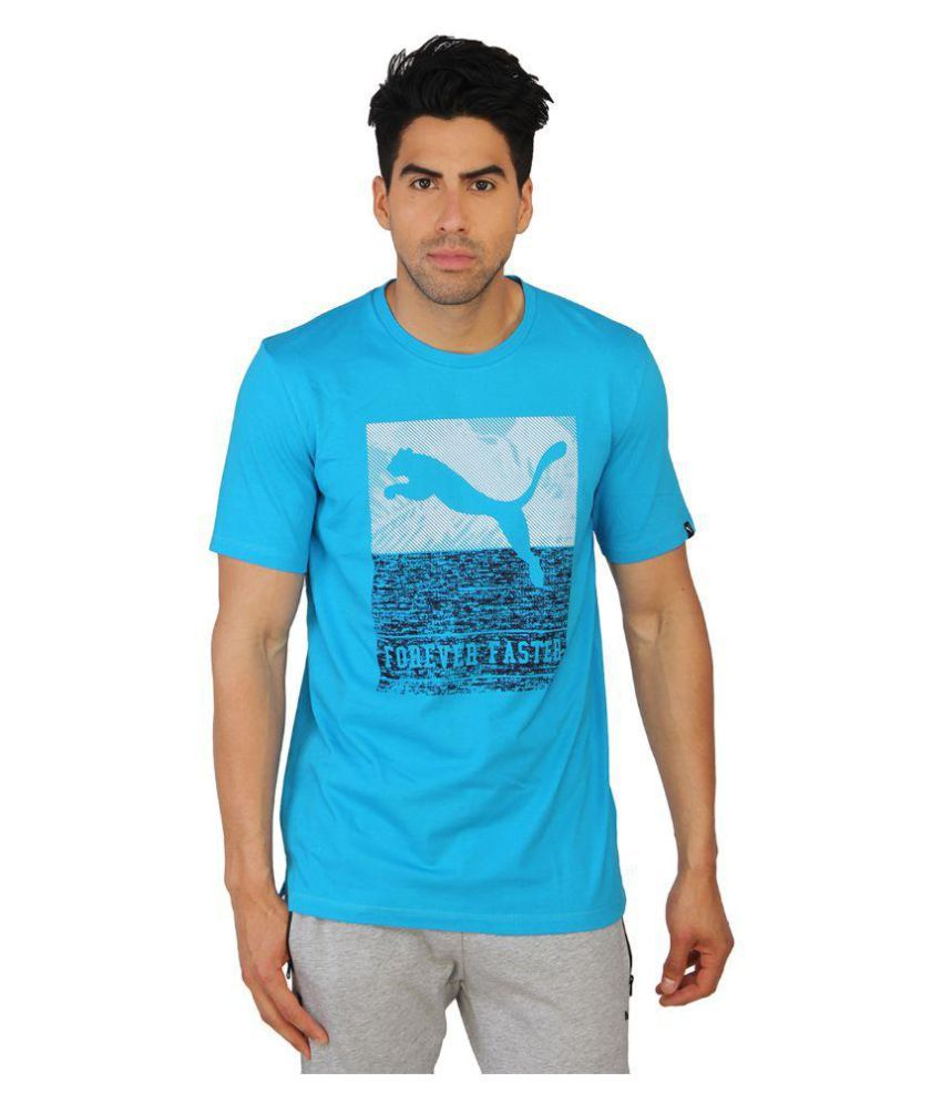 Puma Mens Blue Printed T-Shirt