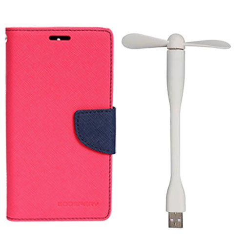 Wallet Flip Case Back Cover For Samsung J1 Ace - (Pink)+Flexible Stylish Mini USB Fan in White color By Style Crome