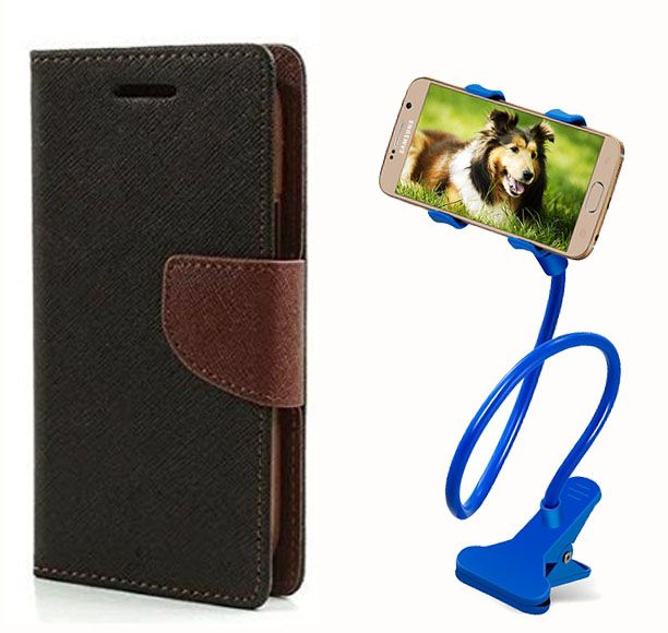 Fancy Flip Case Back Cover For Nokia Lumia 525 (Black Brown) + 360 Rotating Mobile lazy stand by  Aart store.