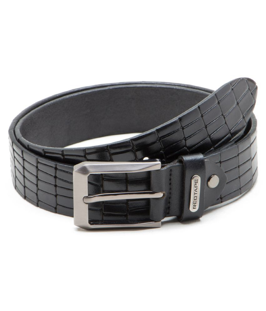Red Tape Black Leather Casual Belts