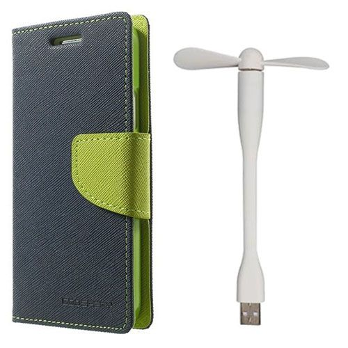 Wallet Flip Case Back Cover For Micromax A210 - (Blue)+Flexible Stylish Mini USB Fan in White color By Style Crome