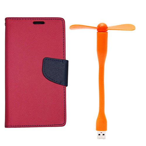 Wallet Flip Case Back Cover For Samsung ON5 - (Red)+Flexible Stylish Mini USB Fan in Orange color By Style Crome