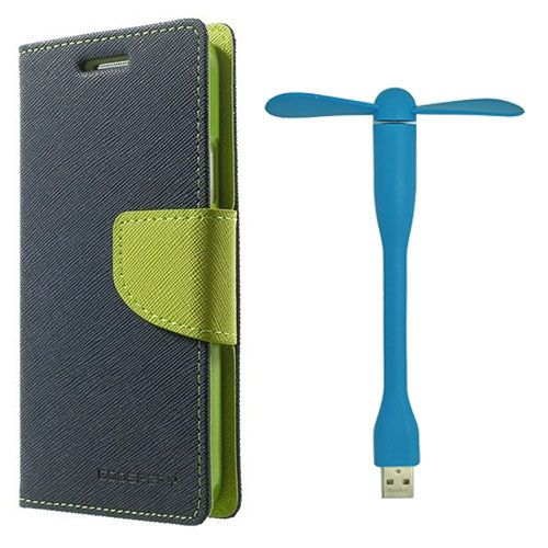 Wallet Flip Case Back Cover For Sony Xperia M2 - (Blue)+Flexible Stylish Mini USB Fan in Blue color By Style Crome