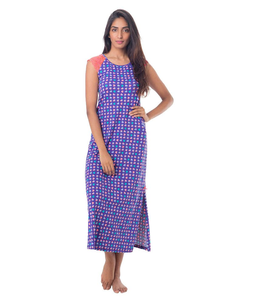 Buy PrettySecrets Purple Cotton Nighty   Night Gowns Online at Best Prices  in India - Snapdeal 200897577
