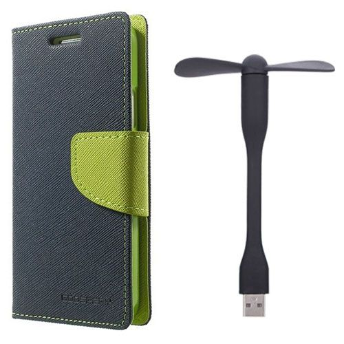 Wallet Flip Case Back Cover For Micromax E311 - (Blue)+Flexible Stylish Mini USB Fan in Black color By Style Crome