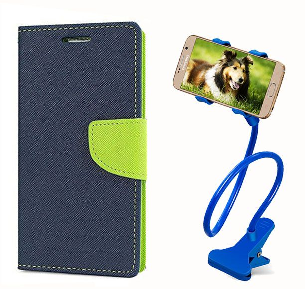 Fancy Flip Back Cover For Sony Xperia E4 (Blue) + 360 Rotating Bed Mobile lazy stand by  style crome.