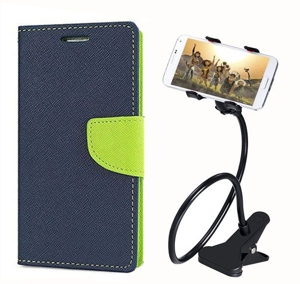 Fancy Flip Back Cover For Xiaomi Redmi 1S (Blue) + 360 Rotating Bed Mobile lazy stand by  style crome.