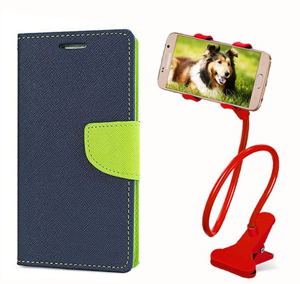 Fancy Flip Back Cover For Micromax Canvas Nitro 2 E311 (Blue) + 360 Rotating Bed Mobile lazy stand by  style crome.