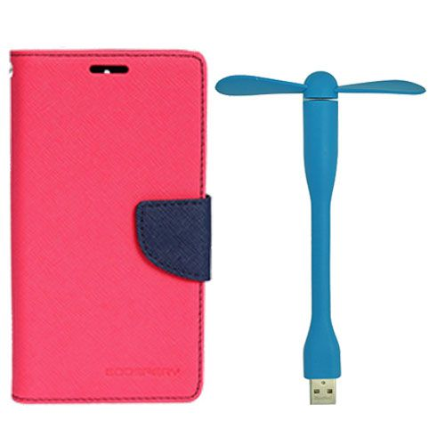 Wallet Flip Case Back Cover For Samsung S5 - (Pink)+Flexible Stylish Mini USB Fan in Blue color By Style Crome