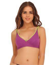 Clovia Purple Cotton T-Shirt/ Seamless Bra