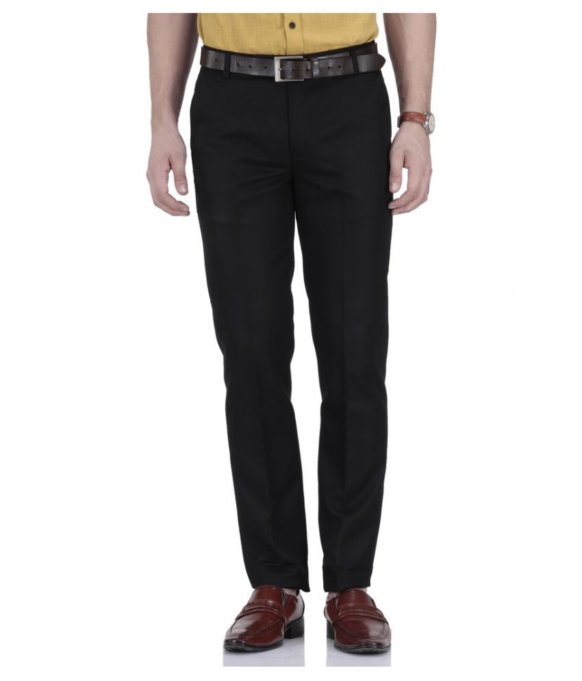 Le Meiux Black Regular Flat Trouser