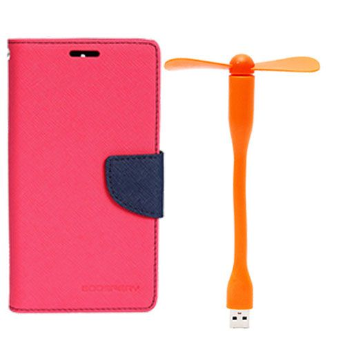 Wallet Flip Case Back Cover For Nokia 535 - (Pink)+Flexible Stylish Mini USB Fan in Orange color By Style Crome