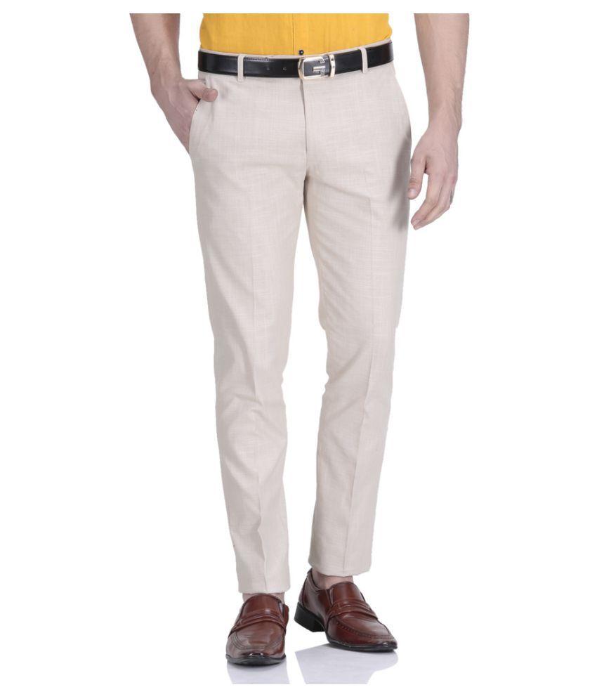 Le Meiux Beige Regular Flat Trouser