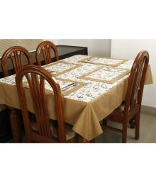 Dekor World 8 Seater Cotton Set Of 9 Table Cover & Table Mats - 675401387512