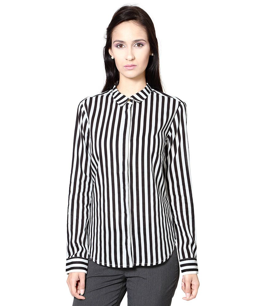 Annabelle By Pantaloons Black Striped Regular Fit Shirt