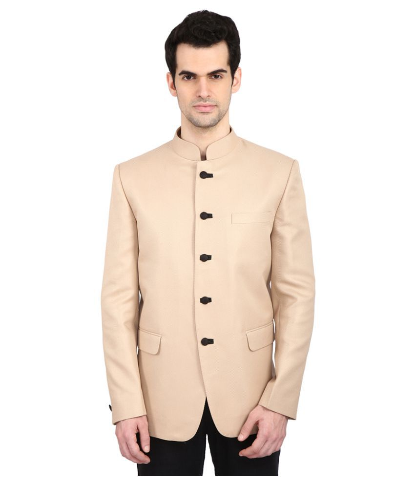 Indian Attire Beige Solid festive Tuxedo