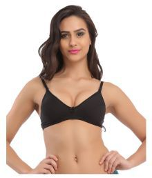 Miss Clyra Black Cotton Plunge Bra