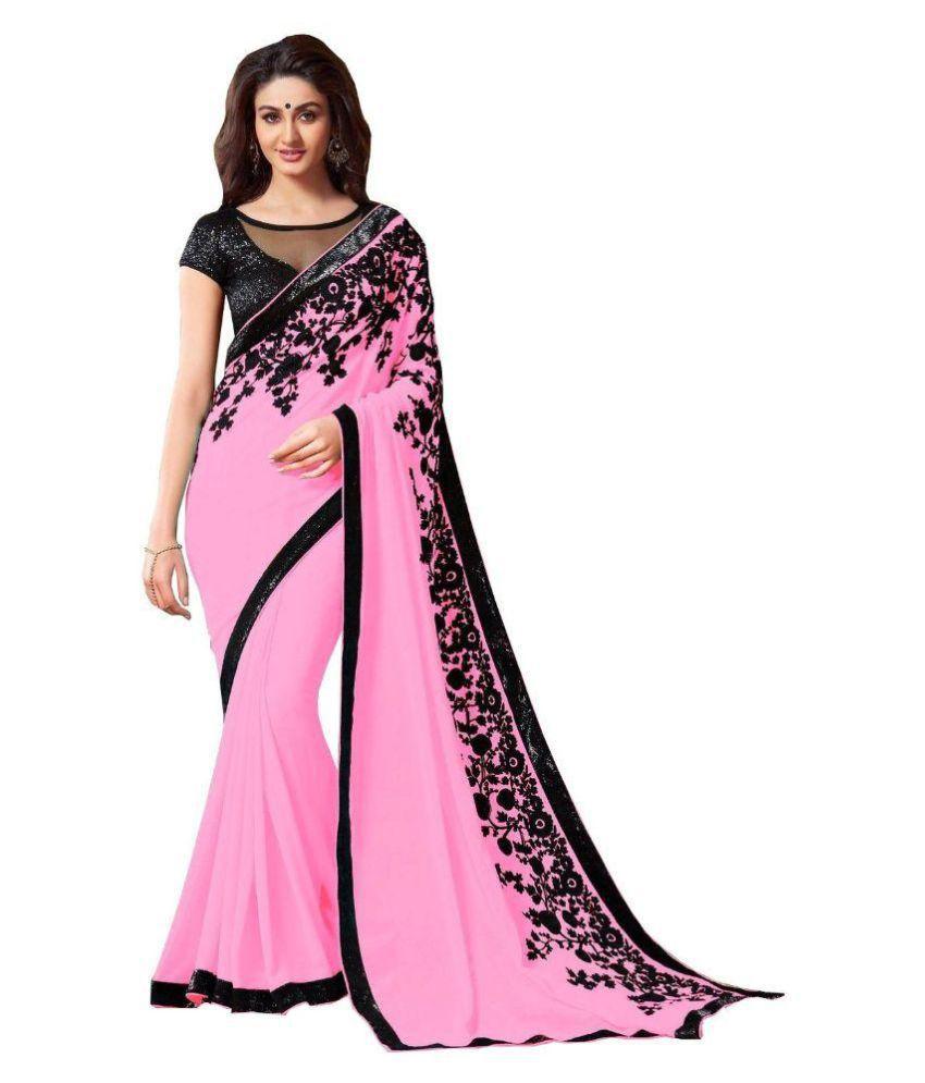 iShe Fashions Pink Chiffon Saree