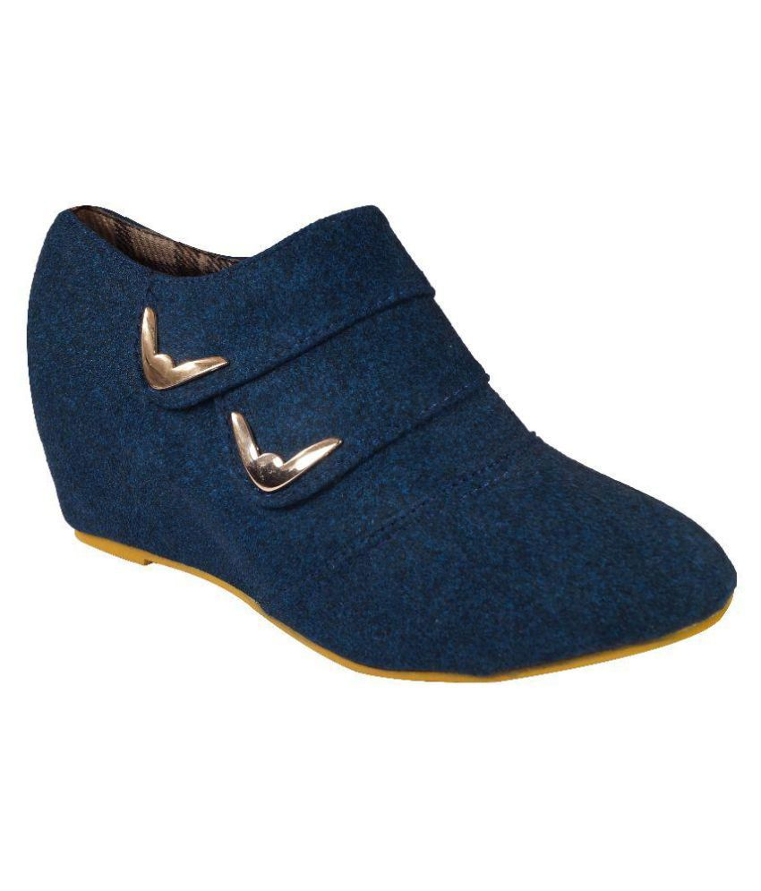 Ladela Blue Ankle Length Bootie Boots