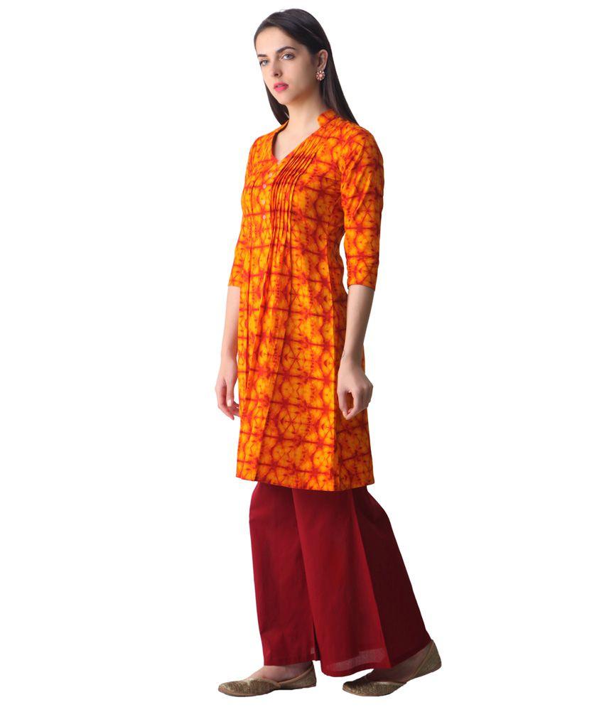 3f24cbeec Libas Orange Printed Kurta - Buy Libas Orange Printed Kurta Online ...