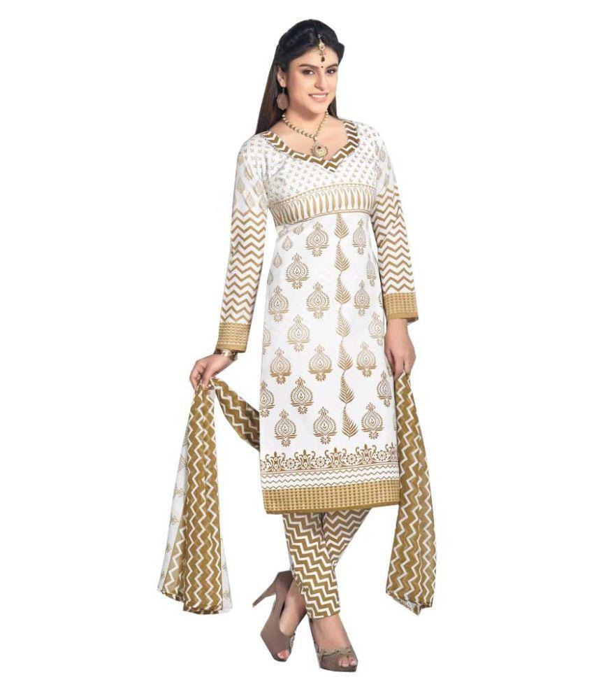 59bb1d59bf Mastani White Cotton Dress Material Price in India | Buy Mastani White  Cotton Dress Material Online - Gludo.com