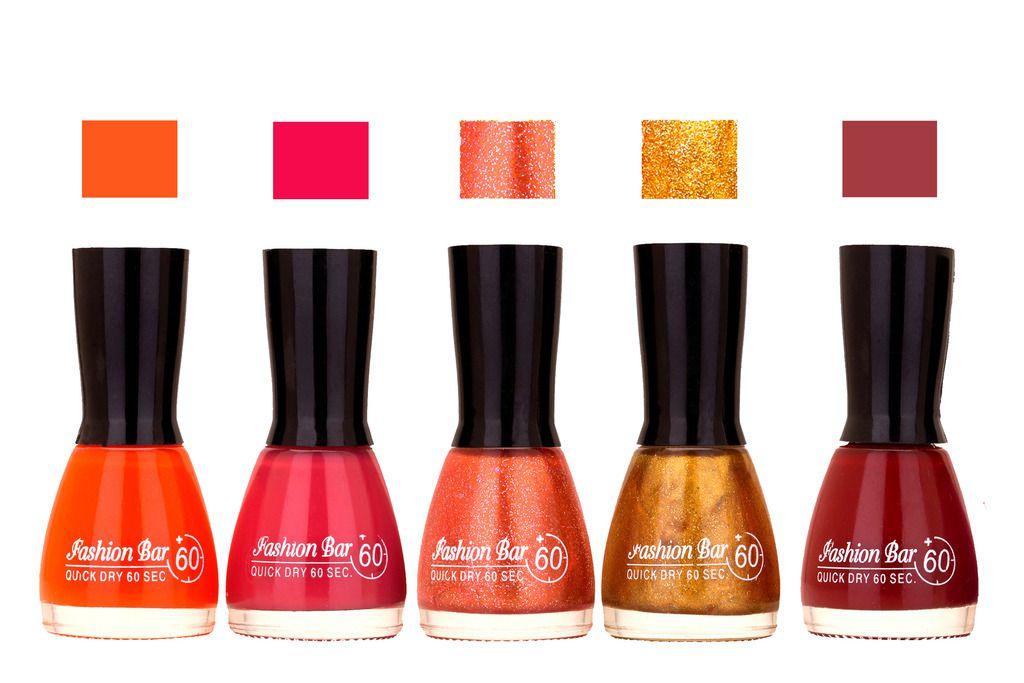 Orange,Pink,Shimmer Orange Glitter Gold ,Maroon Shades Nail Polish ...