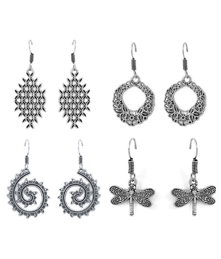 Factorywala Silver Earrings - Pair of 4