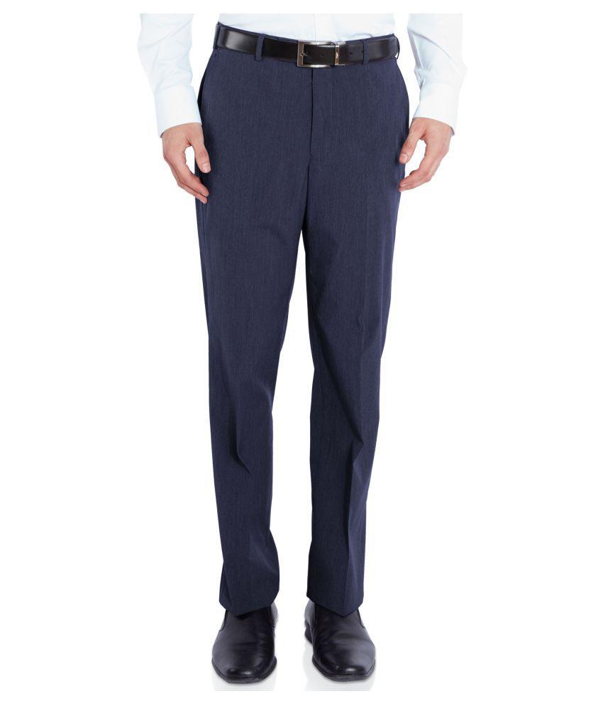 Park Avenue Blue Slim Flat Trouser