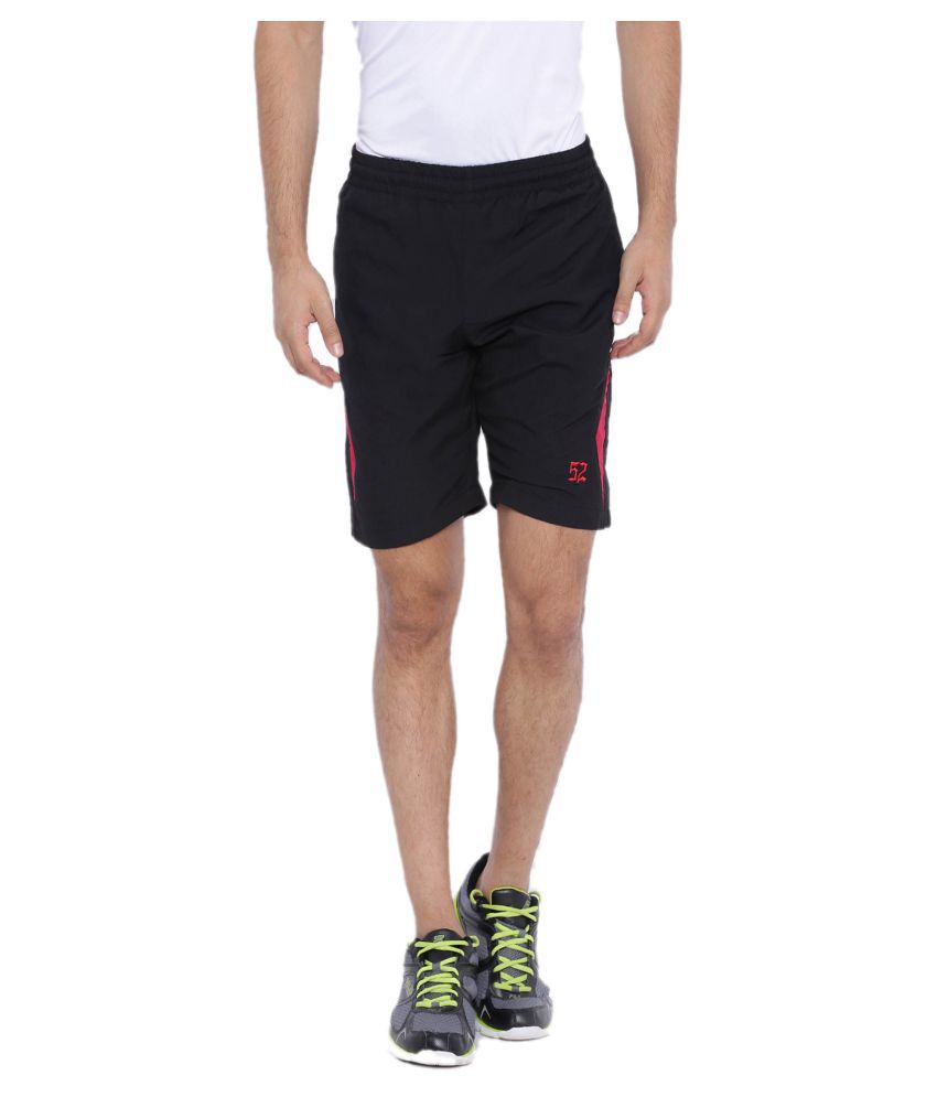 Sports 52 Wear Black Polyester Running Shorts Single
