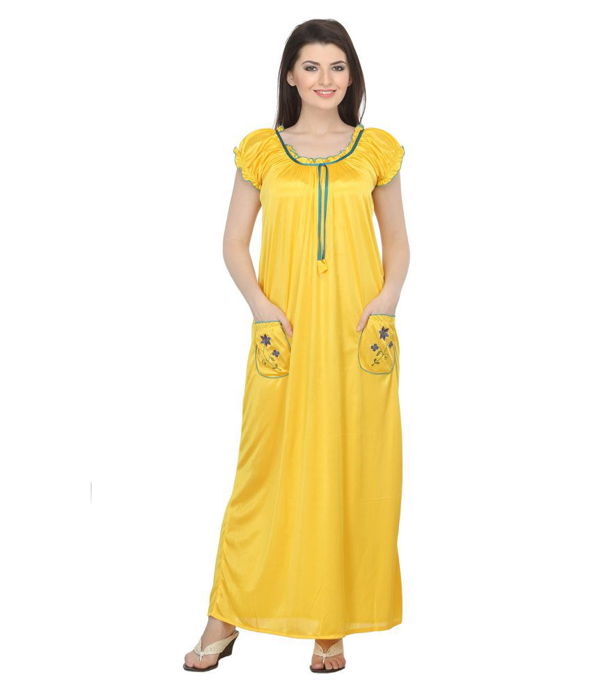 25d0ec02a620 Buy Belle Nuits Yellow Satin Nighty   Night Gowns Online at Best Prices in  India - Snapdeal