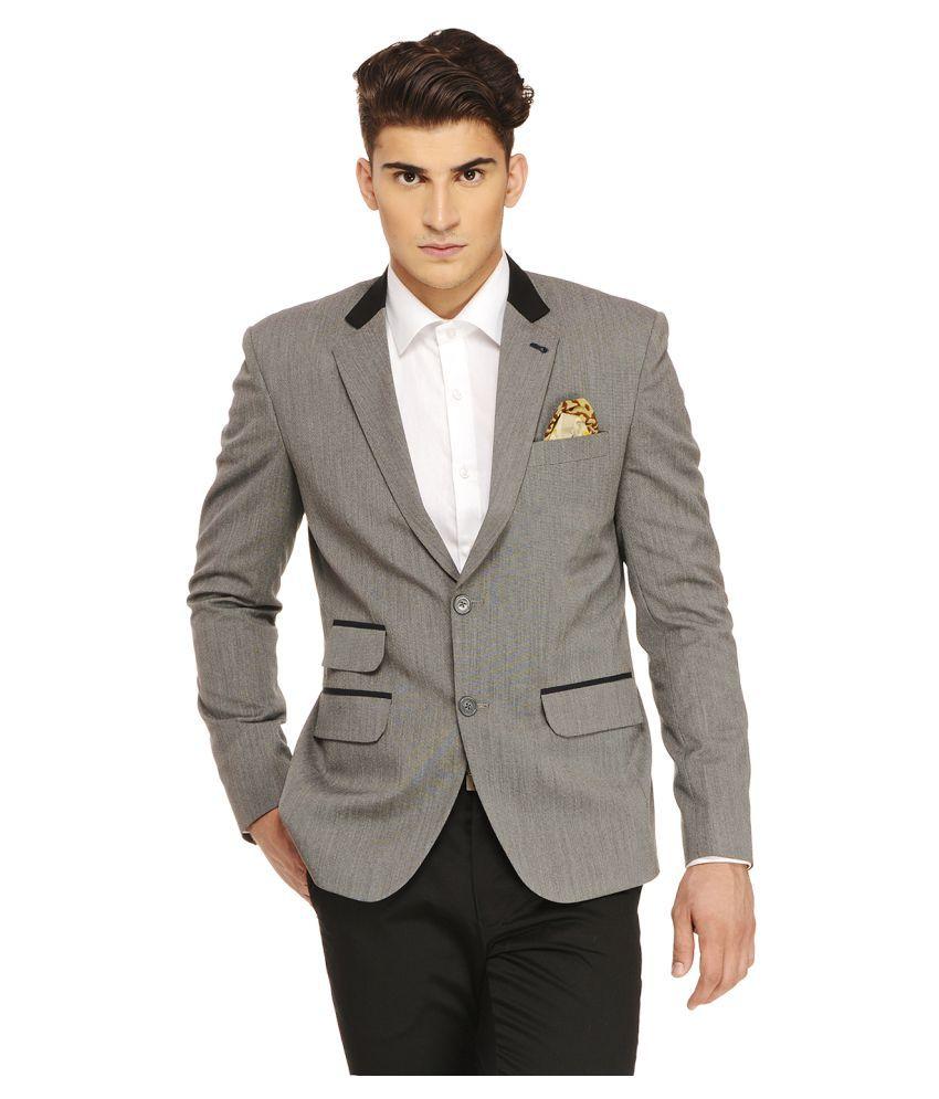 Ennoble Grey Solid Casual Tuxedo
